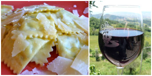 Ravioli and Wine at Alla Madonna del Piatto
